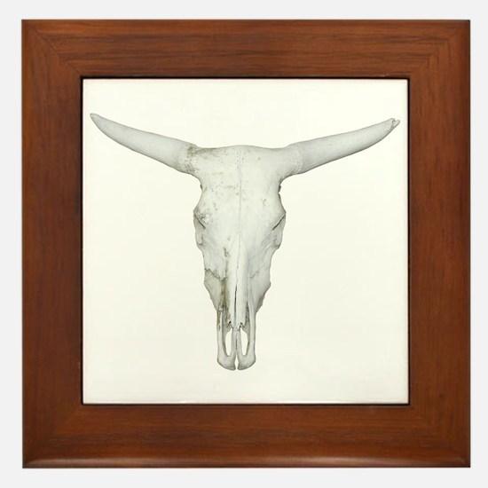 Bull Skull Framed Tile