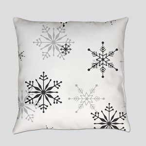 Snowflakes in Black and White Everyday Pillow