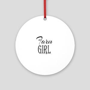 Farm Girl Round Ornament