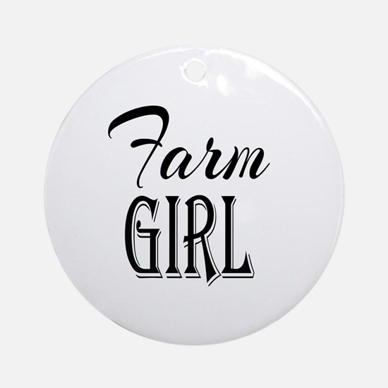 Farm Girl Round Ornament