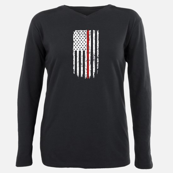 Thin Red Line Flag Plus Size Long Sleeve Tee