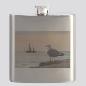 Sea gull and windjammer Flask