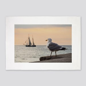 Sea gull and windjammer 5'x7'Area Rug