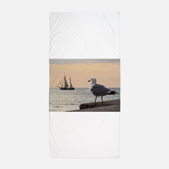Sea gull and windjammer Beach Towel