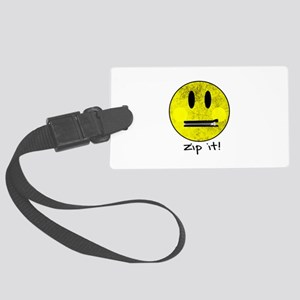 SMILEY FACE ZIP IT Large Luggage Tag