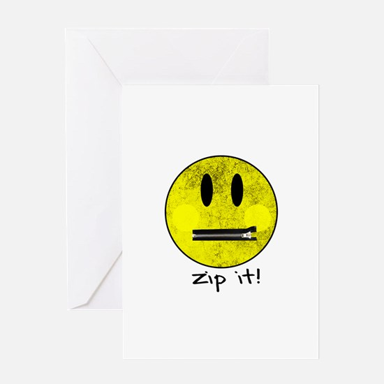 SMILEY FACE ZIP IT Greeting Cards