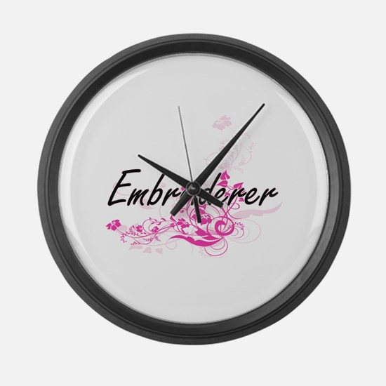 Embroiderer Artistic Job Design w Large Wall Clock