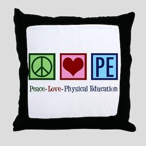 Peace Love PE Teacher Throw Pillow