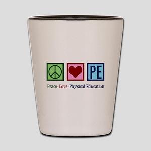 Peace Love PE Teacher Shot Glass