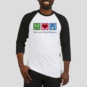 Peace Love PE Teacher Baseball Tee