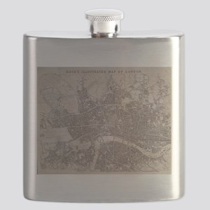 Vintage Map of London England (1845) Flask