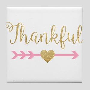 Glitter Thankful Tile Coaster