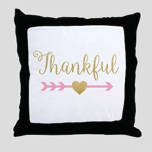 Glitter Thankful Throw Pillow
