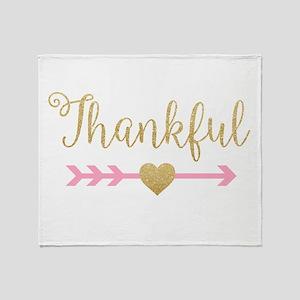 Glitter Thankful Throw Blanket