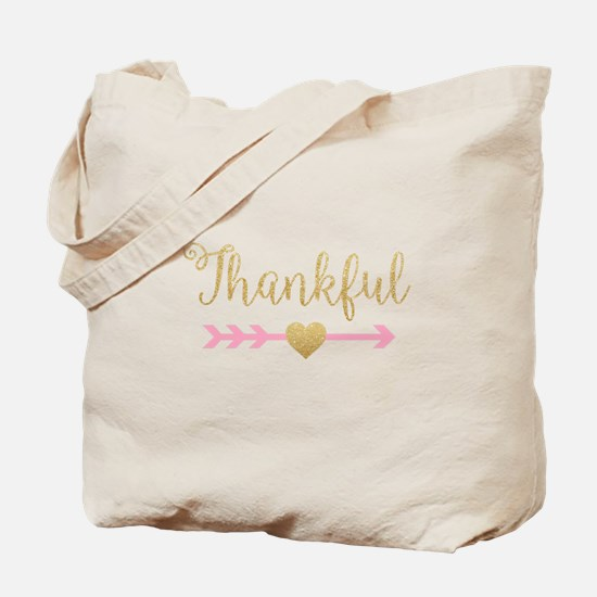 Glitter Thankful Tote Bag