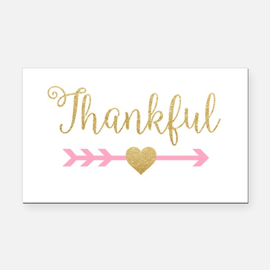 Glitter Thankful Rectangle Car Magnet