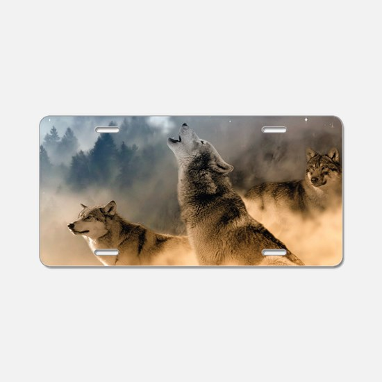 Wolves During Winter Aluminum License Plate