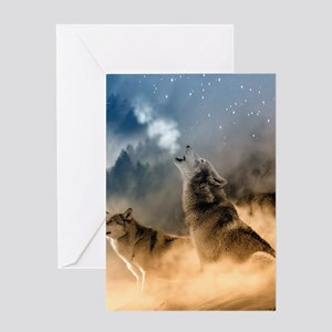 Wolves During Winter Greeting Cards