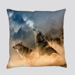 Wolves During Winter Everyday Pillow