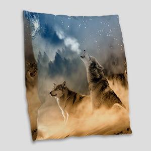 Wolves During Winter Burlap Throw Pillow