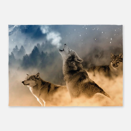 Wolves During Winter 5'x7'Area Rug