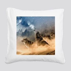 Wolves During Winter Square Canvas Pillow