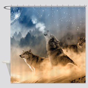 Wolves During Winter Shower Curtain