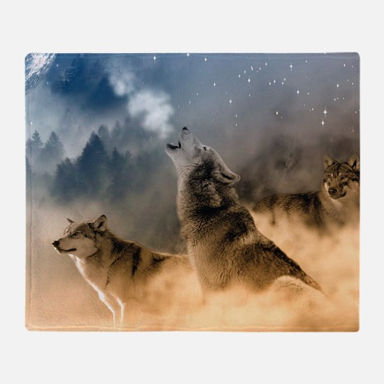 Wolves During Winter Throw Blanket