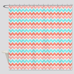Coral Pink Turquoise Blue Ombre Che Shower Curtain