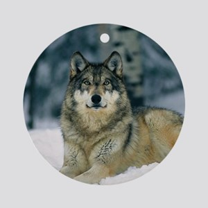 Wolf In The Snow Round Ornament