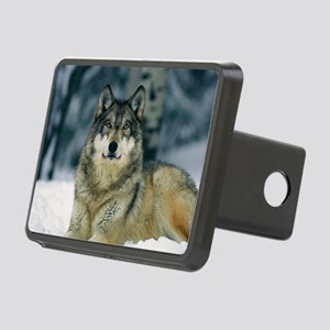 Wolf In The Snow Rectangular Hitch Cover