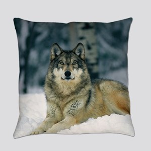 Wolf In The Snow Everyday Pillow