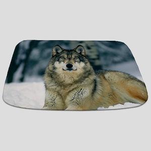 Wolf In The Snow Bathmat