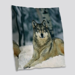 Wolf In The Snow Burlap Throw Pillow