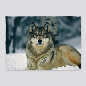 Wolf In The Snow 5'x7'Area Rug