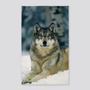 Wolf In The Snow Area Rug