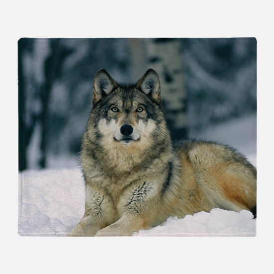 Wolf In The Snow Throw Blanket