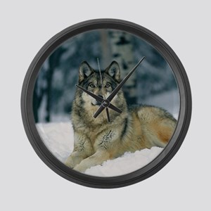 Wolf In The Snow Large Wall Clock