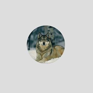 Wolf In The Snow Mini Button