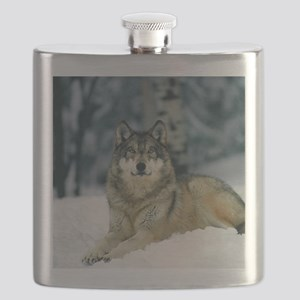 Wolf In The Snow Flask