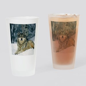 Wolf In The Snow Drinking Glass