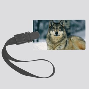 Wolf In The Snow Large Luggage Tag