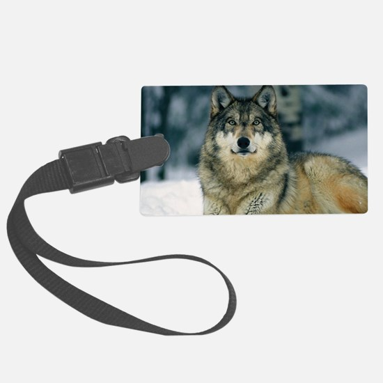 Wolf In The Snow Luggage Tag