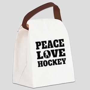 Peace Love Hockey Canvas Lunch Bag