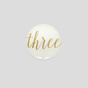 Glitter Three Mini Button