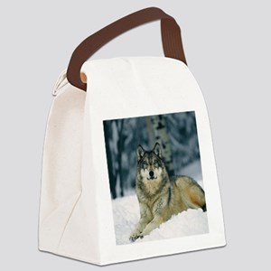 Wolf In The Snow Canvas Lunch Bag