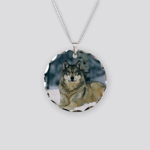 Wolf In The Snow Necklace Circle Charm