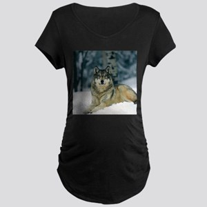 Wolf In The Snow Maternity T-Shirt