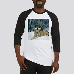 Wolf In The Snow Baseball Jersey