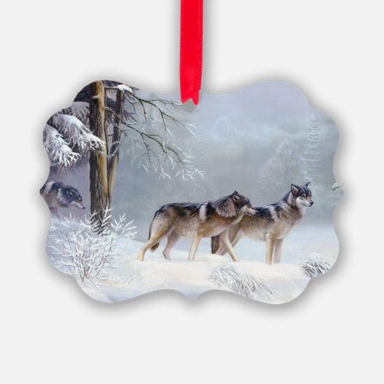 Pack Of Wolves During Winter Ornament